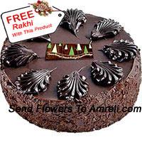 1/2 Kg (1.1 Lbs) Dark Chocolate Cake With A Free Rakhi