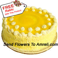 product1 Kg (2.2 Lbs) Pineapple Cake With A Free Rakhi