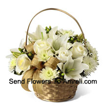 This arrangement has a snow like filled display of seasonal elegance. White roses, chrysanthemums and Asiatic lilies create winter magic seated in a gold basket and accented with green hypericum berries and a gold plaid ribbon, making this a wish for a season abundant in beauty and togetherness. (Please Note That We Reserve The Right To Substitute Any Product With A Suitable Product Of Equal Value In Case Of Non-Availability Of A Certain Product)