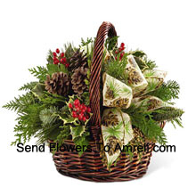 productThis Bouquet�is an expression of holiday homecoming and heartfelt cheer. Assorted holiday greens, variegated holly, natural pinecones, red berry pics and cinnnamon sticks are lovingly arranged in a dark brown bamboo basket accented with an ivory holiday ribbon creating a seasonal sentiment of peace and goodwill. (Please Note That We Reserve The Right To Substitute Any Product With A Suitable Product Of Equal Value In Case Of Non-Availability Of A Certain Product)