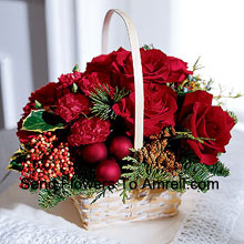productWhat better gift for a rose lover than this seasonal arrangement of roses and Christmas greens. A tasteful gift with a holiday flair. (Please Note That We Reserve The Right To Substitute Any Product With A Suitable Product Of Equal Value In Case Of Non-Availability Of A Certain Product)