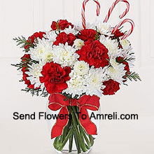 Sweeten their Christmas with a bounty of blooms and festive candy canes! A darling bouquet of red carnations and white chrysanthemums are accented with peppermint candy canes for a holiday presentation that is sure to make their holiday warm and bright. A memorable way to be a part of their holiday festivities! (Please Note That We Reserve The Right To Substitute Any Product With A Suitable Product Of Equal Value In Case Of Non-Availability Of A Certain Product)