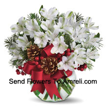 Share the magic of a white Christmas with this cheery bouquet of snowy white alstroemeria blossoms arranged in vase with festive holiday trim. (Please Note That We Reserve The Right To Substitute Any Product With A Suitable Product Of Equal Value In Case Of Non-Availability Of A Certain Product)