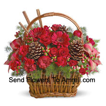 Spice up any winter occasion with this charming basket bouquet of miniature roses, carnations, gerberas, or similar festive blooms, designed in a basket with fresh evergreens, pinecones, and accents. Great for a thank you, Happy Holidays greeting, Christmas wishes, or just because (Please Note That We Reserve The Right To Substitute Any Product With A Suitable Product Of Equal Value In Case Of Non-Availability Of A Certain Product)