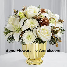 A highly sophisticated expression of the season's most dazzling moments. Snowy white roses, Asiatic lilies and chrysanthemums shed their light and beauty arranged amongst myrtle stems and assorted holiday greens. Accented by gold pinecones and gold cording and placed in a gold pedestal vase, this bouquet creates a wonderful wish for a truly wondrous holiday season. (Please Note That We Reserve The Right To Substitute Any Product With A Suitable Product Of Equal Value In Case Of Non-Availability Of A Certain Product)