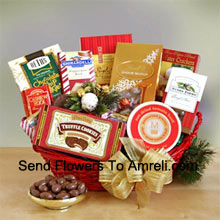 productEveryone on your gift list this year will appreciate our gourmet sampler gift basket, whether it's family, friends, or business associates you need to please. Our handsome red oval basket comes decorated with a big bow and holiday greenery to make a great presentation. Inside are many reasons to smile as they sample the savory and sweet selection: crackers, cheese, Cashew Roca, truffle cookies, mocha almonds, chocolate chip cookies, Lindt truffles, Ghirardelli almond chocolate bar, and English tea cookies. (Please Note That We Reserve The Right To Substitute Any Product With A Suitable Product Of Equal Value In Case Of Non-Availability Of A Certain Product)