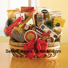 This delightful wicker and woven gift basket is a great way to say thank you to all of your clients, employees, and business associates this year. It is equally at home in the board room, the break room, or the living room, and we've included a sweet and savory selection of gourmet snacks that are all ready to eat and be enjoyed. Your recipients will be please with the great selection inside: pesto havarti cheese, smoked salmon, caviar, English tea cookies, shortbread cookies, Ghirardelli chocolates, biscotti, toffee almonds, Ghirardelli squares, Jelly Belly jelly beans, chocolate cheese sticks, chocolate caramel cookies and peppermint popcorn. (Please Note That We Reserve The Right To Substitute Any Product With A Suitable Product Of Equal Value In Case Of Non-Availability Of A Certain Product)