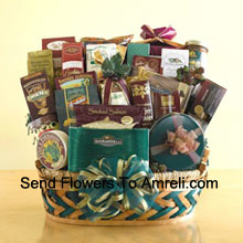 This enormous gift basket is an over-the-top holiday gift that is sure to leave a grand impression! When you need to send something that is truly memorable and is large enough to be enjoyed by a crowd, this gift basket is perfect. Make a big impression with clients, employees, or the big boss by sending this sweet and savory selection that features smoked salmon, crackers, cheese, assorted nuts, biscotti, Bavarian-style pretzels, cheese sticks, tortilla chips, salsa, cheese swirls, snack mix, a collection of cookies, caramel popcorn, Ghirardelli chocolate squares, a box of assorted Ghirardelli chocolates, a tin of chocolate-covered sandwich cookies, chocolate-dipped pretzels, chocolate nuggets, and hot cocoa mix. They won't know what to eat first! (Please Note That We Reserve The Right To Substitute Any Product With A Suitable Product Of Equal Value In Case Of Non-Availability Of A Certain Product)