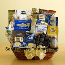 Make an executive decision that will be universally appreciated by sending this delicious gift basket! We've packed a wicker basket with a delightful assortment of gourmet foods, all arranged to make a great first impression. Your recipients are sure to appreciate this gift and will enjoy everything packed inside including tortilla chips, salsa, cheese sticks, brie cheese, water crackers, smoked salmon, pistachios, almonds, popcorn, pretzels, cheese swirls, Jelly Belly jelly beans, assorted Ghirardelli chocolates, wafer cookies, a tin of chocolate-covered sandwich cookies, a bag of Ghirardelli squares, and biscotti. (Please Note That We Reserve The Right To Substitute Any Product With A Suitable Product Of Equal Value In Case Of Non-Availability Of A Certain Product)