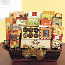 productCan't decide what to get for those hard-to-buy for people on your holiday list? Do you have some business clients that you need to send thank you gifts to, but don't know what they like? Our office party gift basket is perfect when you need to send a large gift and insure there is plenty of variety for everyone to enjoy. Our wicker tray basket is brimming with gourmet goodies that anyone can appreciate, like California smoked almonds, Lindt truffles, a Ghirardelli caramel chocolate bar, Dolcetto wafer cookies, dried fruit, cashew crunch, cheese straws, carrot cake cookies, breadsticks, cheese, a cheese knife, crackers, English toffee, cookies, English tea cookies, toffee pretzels, toffee almonds, LeGrand truffles, and cappuccino mix. (Please Note That We Reserve The Right To Substitute Any Product With A Suitable Product Of Equal Value In Case Of Non-Availability Of A Certain Product)