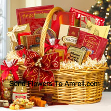 If you are looking for a great gift basket for any occasion, our snack classic will do the trick. It's one of our best sellers, and no wonder. From the color coordinated design to the sweet and savory treats inside, your recipient will be thrilled. Inside they will find Earl Grey Tea, Tomato Basil Beef Salami, Cheddar Cheese, Water Crackers, Smoked Salmon, Dragon Snack Mix, Tiramisu Cake, Roasted Pecans, Whole Grain Mustard, Gouda Cheese Biscuits, Sweet Butter Cookies, Pecan Almond Crunch, Chocolate Wafer Rolls, Cashew Roca, Fruit Candies, Cheese Lover's Pub Mix, Belgian Chocolate Petites and Old North State Blend Coffee. (Please Note That We Reserve The Right To Substitute Any Product With A Suitable Product Of Equal Value In Case Of Non-Availability Of A Certain Product)