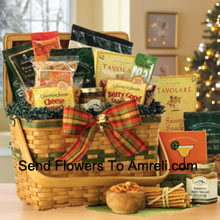 Savory treats all dressed up and ready for the season! This wooden weave basket has a hinged lid and holds delights to please - Natural Roasted Pistachios, Berry Good Snack Mix, Tavolare Snack Mix, Rothschild Dipping Pretzels, Raspberry Honey-Mustard Pretzel Dip, Maui Onion Almond Crunchies, Cheese Lover's Pub Mix, Tropical Fruit Snack, Jalapeno Cheddar Biscuits, Appalachian Trail Mix and Roasted Sunflower Seeds. Perfect to celebrate the holidays! (Please Note That We Reserve The Right To Substitute Any Product With A Suitable Product Of Equal Value In Case Of Non-Availability Of A Certain Product)