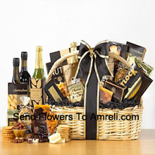 Designed to create a grand impression, our delightful willow basket sports an elegant black and gold color scheme. The basket is filled with a superior selection of gourmet goodies - Honey Mustard Pretzels, Cheese Lover's Pub Mix, Fancy Water Crackers, Smoked Salmon, All Natural Sharp Cheddar, Dutch Gouda Cheese Biscuits, Deluxe Mixed Nuts, Pistachio Pralines, Swedish Oat Crisps, Belgian Chocolate Petites, Godiva Dark Chocolate Almonds, Raspberry Chocolate Espresso Cake, House Blend Coffee, Sisters Classic Breakfast Tea and a bottle of non-alcoholic Sparkling Apple Cider. (Please Note That We Reserve The Right To Substitute Any Product With A Suitable Product Of Equal Value In Case Of Non-Availability Of A Certain Product)
