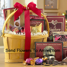 productA classic combination of the finest gourmet chocolates make this a gift basket perfect for anybody that loves sweets. Includes Italian Chocolate Truffles, crunchy Almond Roca, a White Chocolate Amaretto Wafers, Chocolate Fudge, creamy rich Milk Chocolate, Belgian Chocolates, and assorted individually-wrapped Godiva Chocolates. We pack it all in a reusable handle basket and ship your gift straight to your recipients. (Please Note That We Reserve The Right To Substitute Any Product With A Suitable Product Of Equal Value In Case Of Non-Availability Of A Certain Product)