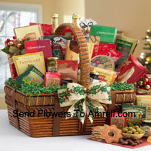 productSend your best wishes with this impressive gift basket that's all decked out for the holidays. With the artful details of the handsomely crafted basket and the world of fancy flavors nestled inside, it festively captures the spirit of the season. The small includes a bountiful assortment with Tomato Basil Pretzels, Gingerbread Cake, Zesty Cheddar Thins, Spanish Olives, Pecan Pralines, Gouda Cheese Biscuits, Cinnamon Star Cookies, Belgian Chocolate Petites, California Smoked Almonds, Rothschild Triple Berry Preserves, Chocolate Chip Cookies, Ashby Assam Tea, Savory Snack Mix, Fruit Bonbons, Holiday Blend Coffee, and Godiva Milk Chocolate Strawberries. (Please Note That We Reserve The Right To Substitute Any Product With A Suitable Product Of Equal Value In Case Of Non-Availability Of A Certain Product)