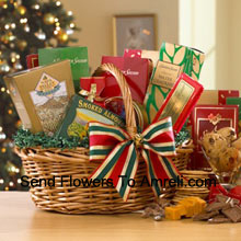 Filled with festive goodies and wrapped with a colorful ribbon, this gourmet basket is filled with the best sweet and savory snacks we have to offer! Your recipient will love the Fancy Water Crackers, Sharpy Cheddar, Honey Mustard Pretzel Nuggets, Dutch Gouda Cheese Biscuits, Smoked Almonds, assorted Fruit Bonbons, Homestyle Peanut Brittle, Chocolate Chip Cookies, Chocolate Truffles and mouthwatering Milk Chocolate. (Please Note That We Reserve The Right To Substitute Any Product With A Suitable Product Of Equal Value In Case Of Non-Availability Of A Certain Product)