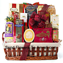 productWhen you need to feed a crowd, just deliver this generous holiday gift basket. It's all decked out and ready for the party. We've included plenty of ready to eat gourmet food for them to enjoy, like Ghirardelli Chocolate Raspberry Squares, Pistachios, White Corn Chips and Salsa, Chocolate Wafer Cookies, Dolcetto Wafer Rolls, Amaretto Almond Cookies, Chocolate Covered Cherries, Smoked Salmon, Brie Cheese, Cracked Pepper Crackers, Cheese Straws, Chocolate Covered Sandwich Cookies, and Mocha Almonds. (Please Note That We Reserve The Right To Substitute Any Product With A Suitable Product Of Equal Value In Case Of Non-Availability Of A Certain Product)