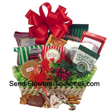 productCelebrate holiday traditions with a gift that boasts good taste! The festive natural basket is packed full of delicious time-honored treats. We've included peanuts, fudge, pretzels, cheddar biscuits, cookies, snack mix, peanut brittle, sprinkled pretzels, Christmas popcorn and chocolate filled peppermints. We've also included a keepsake tree ornament to top off this heartfelt holiday gift. (Please Note That We Reserve The Right To Substitute Any Product With A Suitable Product Of Equal Value In Case Of Non-Availability Of A Certain Product)