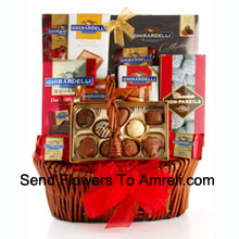 productFor the chocolate lover, we've put together a sweet sampling of Ghirardelli's best. Straight from the famous San Francisco chocolatier comes a variety of fine chocolates including Ghirardelli Masterpiece Chocolate, Luxe Almond Bar, Milk Chocolate with Caramel Bar, Luxe Toffee Bar, Dark Chocolate Squares, and Chocolate Non Pareils. We also include delicious hot cocoa mix. A true chocolate lover's fantasy (Please Note That We Reserve The Right To Substitute Any Product With A Suitable Product Of Equal Value In Case Of Non-Availability Of A Certain Product)