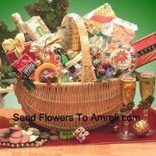 productOur elegant wicker basket contains everything you'll need to celebrate this year with all your loved ones. The basket overflows with Starlite Mints in a Happy Holidays theme bag, 4 oz. Butter Toffee Pretzels, 3 oz. Peanut Butter Filled Delights, 3 oz. Caramel Filled Holiday Chocolates, Sara Sweets Box of Holiday Sugar Plums, 3.75 oz. Old Fashioned Chocolate Walnut Fudge, Old Fashioned Peanut Brittle, 2.25 oz. Peppermint Bark Bar, 4 oz. Old Fashioned Holiday Ribbon Candies, 5 oz. Beef Salami, Wisconsin Cheddar Cheese Round, Costa 8 oz. Wheat Crackers, Grained Mustard, Dolcetto's Cream-Filled Pastry Roll Cookies, 8 oz. Holiday Blackberry Jam, Sparkling Apple Cranberry Cider, Gourmet Holiday Coffee Blend and Holiday Traditions Assorted Holiday Cocoa. (Please Note That We Reserve The Right To Substitute Any Product With A Suitable Product Of Equal Value In Case Of Non-Availability Of A Certain Product)