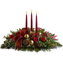 productAssorted Flowers�with three red taper candles. (Please Note That We Reserve The Right To Substitute Any Product With A Suitable Product Of Equal Value In Case Of Non-Availability Of A Certain Product)