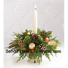 Wish all of those faces at your holiday feast a good night, glowing with seasonal dreams, with this gorgeous centerpiece perfectly accenting your table. A lovely mix of holiday greens are beautifully decorated with Assorted Flowers and a white taper candle setting the perfect mood and seasonal glow (Please Note That We Reserve The Right To Substitute Any Product With A Suitable Product Of Equal Value In Case Of Non-Availability Of A Certain Product)