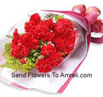 Bunch Of 18 Beautifully Wrapped Red Carnations