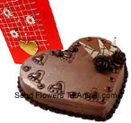 1 Kg (2.2 Lbs) Heart Shaped Chocolate Cake Along With A Free Love Greeting Card